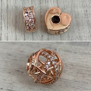 Pandora Rose Clips and Charm